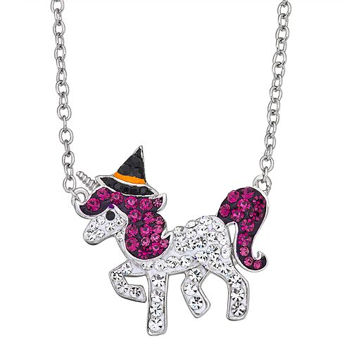 Silver-Plated Crystal Over Brass Crystal Halloween Unicorn Pendant Necklace