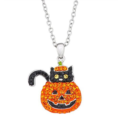 Silver-Plated Crystal Over Brass Crystal Cat in Pumpkin Pendant Necklace