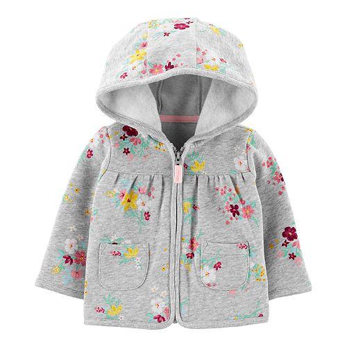 Baby Girl Carter's Floral Zip-Up Fleece Cardigan