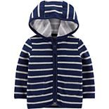 Baby Boy Carter?s Striped Zip-Up Fleece-Lined Cardigan
