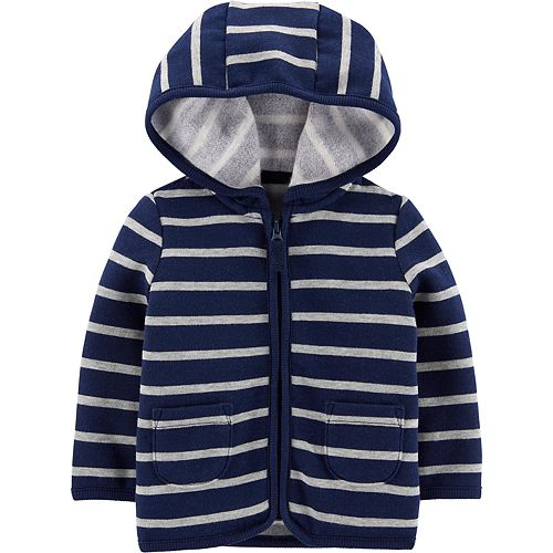 Baby Boy Carter's Striped Zip-Up Fleece-Lined Cardigan