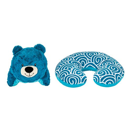 Animal Adventure Popovers Bear 2-in-1 Reversible Plush Buddy & Travel Pillow
