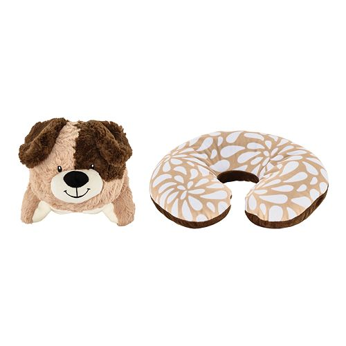 Animal Adventure Popovers Dog 2-in-1 Reversible Plush Buddy & Travel Pillow