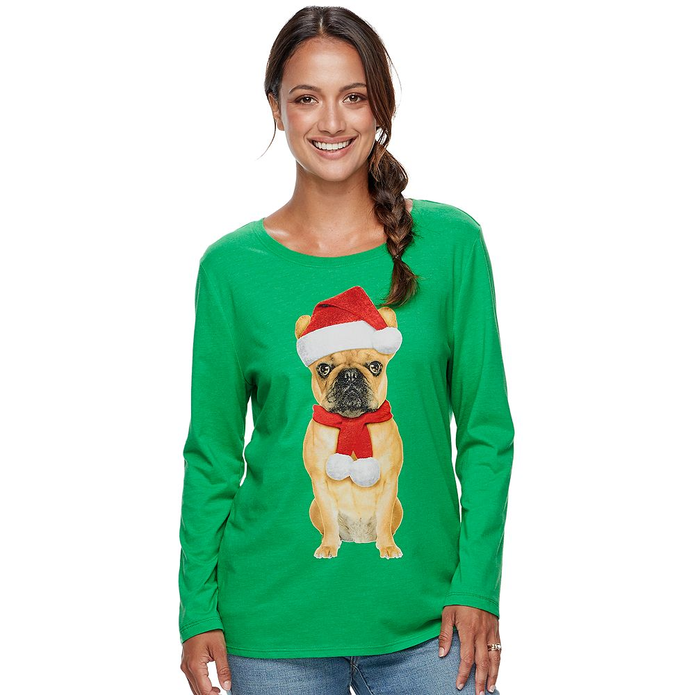 Women's Family Fun™ Pug Christmas Graphic Tee