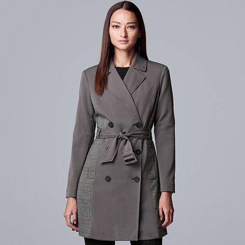 Women's Simply Vera Vera Wang Plaid Menswear Trench