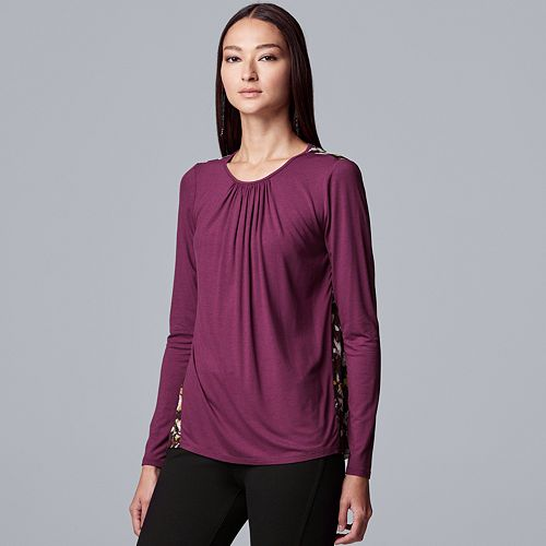 Women's Simply Vera Vera Wang Long Sleeve Shirred Mix Media Tee