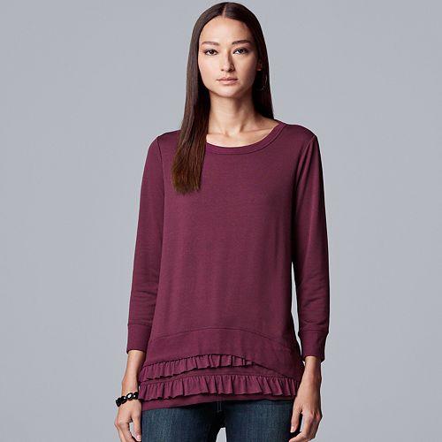 Women's Simply Vera Vera Wang Double Ruffle Sweatshirt
