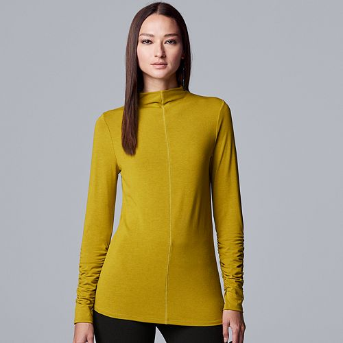 Women's Simply Vera Vera Wang Long Sleeve Ruched Sleeve Turtleneck
