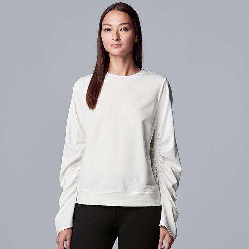 Women's Simply Vera Vera Wang Ruched Sleeve Sweatshirt