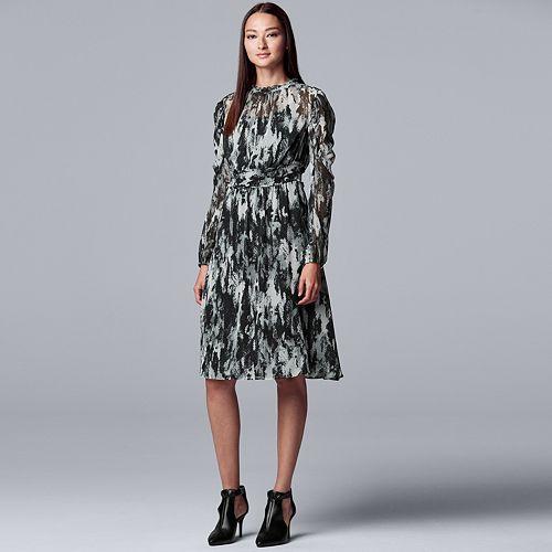 Women's Simply Vera Vera Wang Smocked Long Sleeve Dress