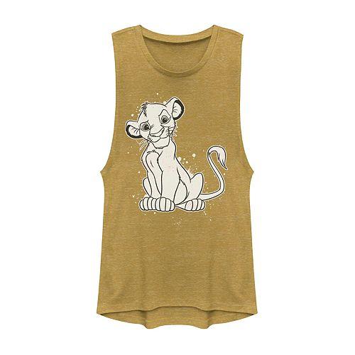 Juniors' Lion King Young Simba Paint Splatter Muscle Shirt