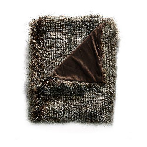 De Moocci Peacock Reversible Tip Dyed Faux Fur Throw