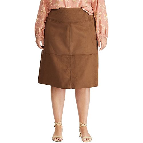 Plus Size Chaps Faux Suede Skirt