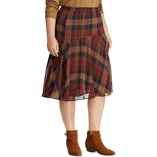 Plus Size Chaps Patterned Skirt