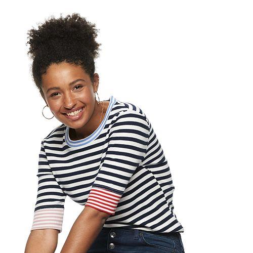 Women's POPSUGAR Contrast Stripe Sleeve Tee