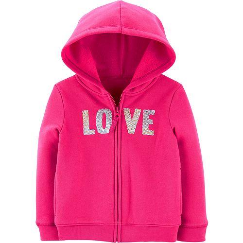 Toddler Girl Carter's Sequin Love Zip-Up Fleece Hoodie