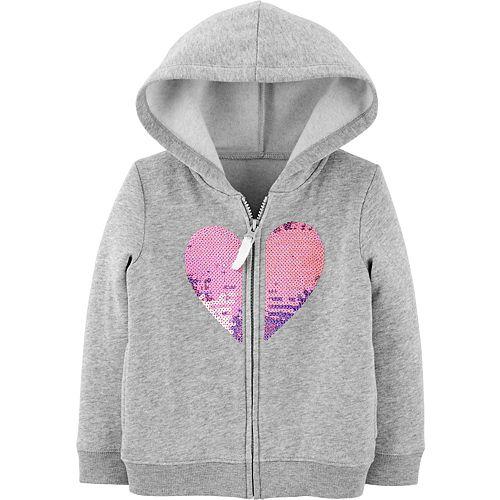 Toddler Girl Carter's Sequin Heart Zip-Up Fleece Hoodie