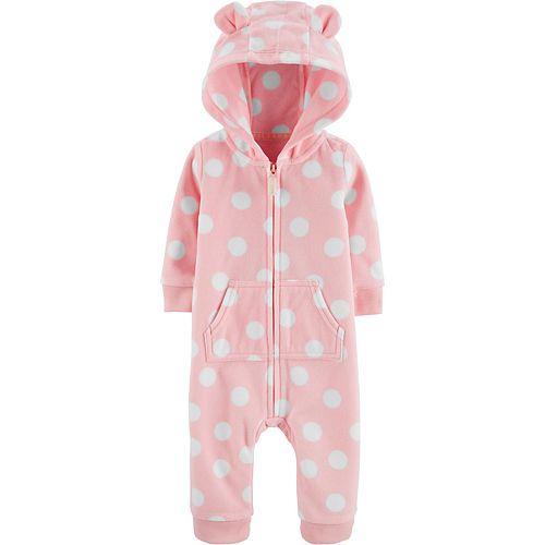 Baby Girl Carter's Hooded Polka Dot Jumpsuit