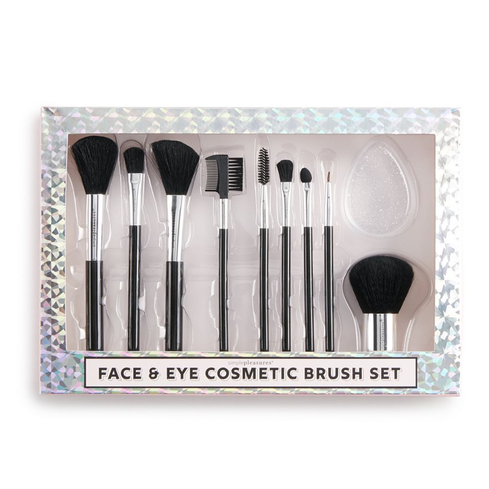 Simple Pleasures 10-Piece Face & Eye Cosmetic Brush Set