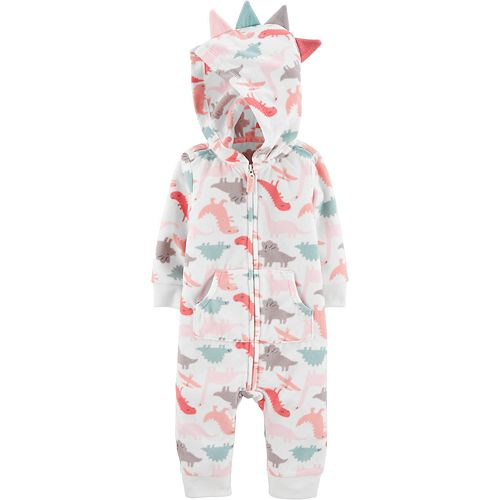 Baby Girl Carter's Hooded Dinosaur Jumpsuit