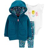 Baby Girl Carter's 3-Piece Quilted Cardigan, Bodysuit & Leggings Set
