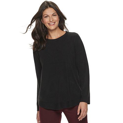 Women's Croft & Barrow® Curved-Hem Crewneck Sweater