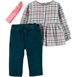Baby Girl Carter's 3-Piece Plaid Twill Top & Corduroy Pant Set