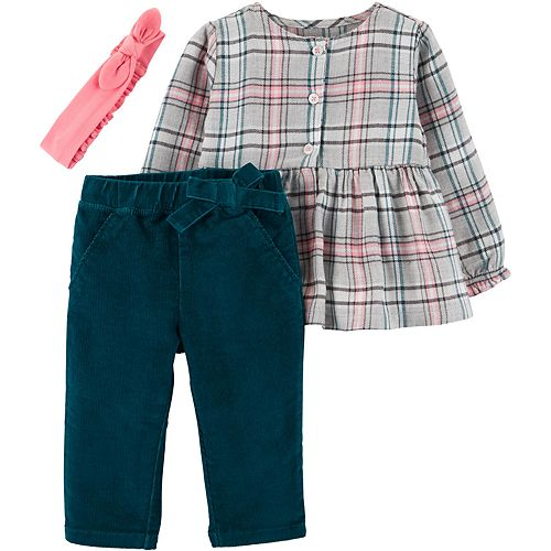 Baby Girl Carter's 3-Piece Plaid Twill Top & Corduroy Pant Set