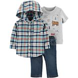 Baby Boy Carter's 3-Piece Plaid Flannel Hooded Shirt, Graphic Tee & Denim Pant Set