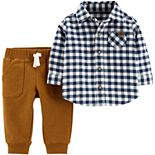 Baby Boy Carter's 2-Piece Checkered Button-Front Top & French Terry Pant Set