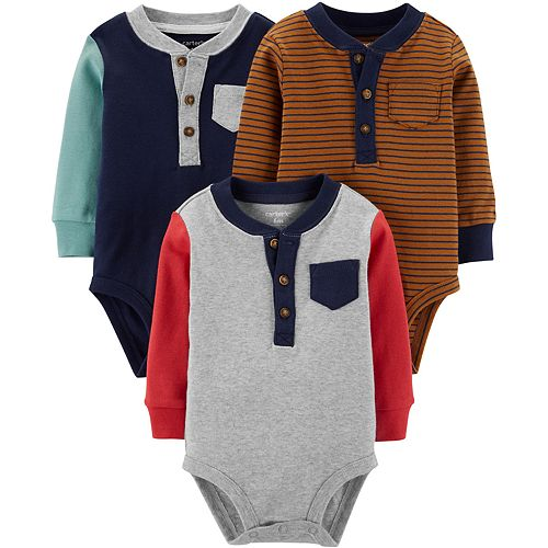 Baby Boy Carter's 3-Pack Henley Original Bodysuits