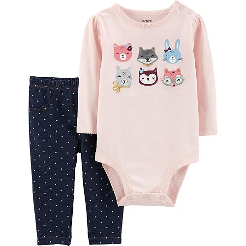 Baby Girl Carter's 2-Piece Animals Bodysuit Pants Set