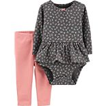 Baby Girl Carter's 2-Piece Floral Peplum Bodysuit Pants Set