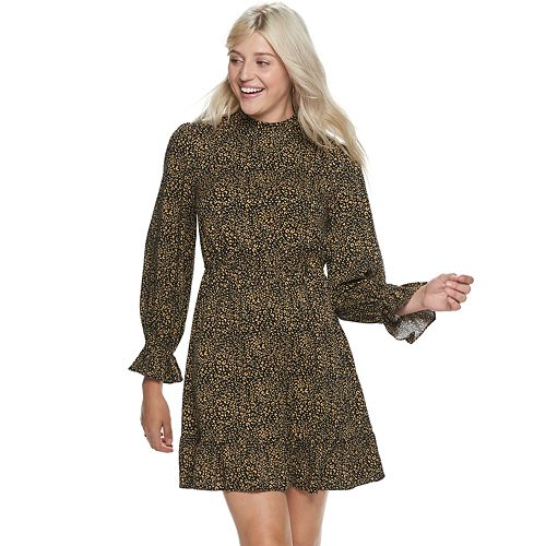 Women's POPSUGAR Print Ruffle Mockneck Mini Dress