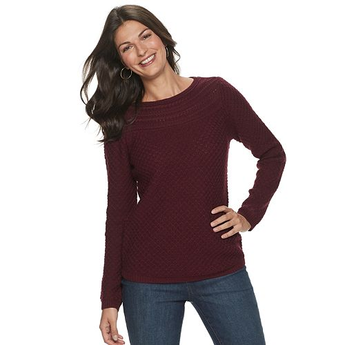 Women's Croft & Barrow® Cable Boatneck Sweater
