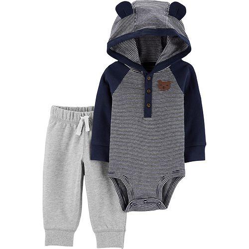 Baby Boy Carter's 2-Piece Hooded Bodysuit Pant Set