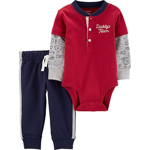 Baby Boy Carter's 2-Piece Layered-Look Henley Bodysuit Pants Set