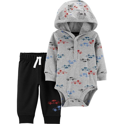 Baby Boy Carter's 2-Piece Car Hooded Bodysuit Pant Set