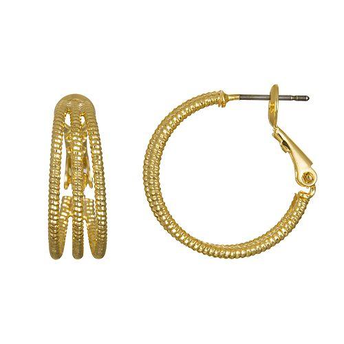LC Lauren Conrad Textured Hoop Earrings