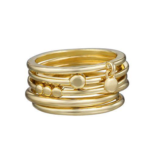 LC Lauren Conrad Gold Tone Stack Ring Set
