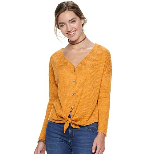 Juniors' Liberty Love Brushed Rib Knot Front Top