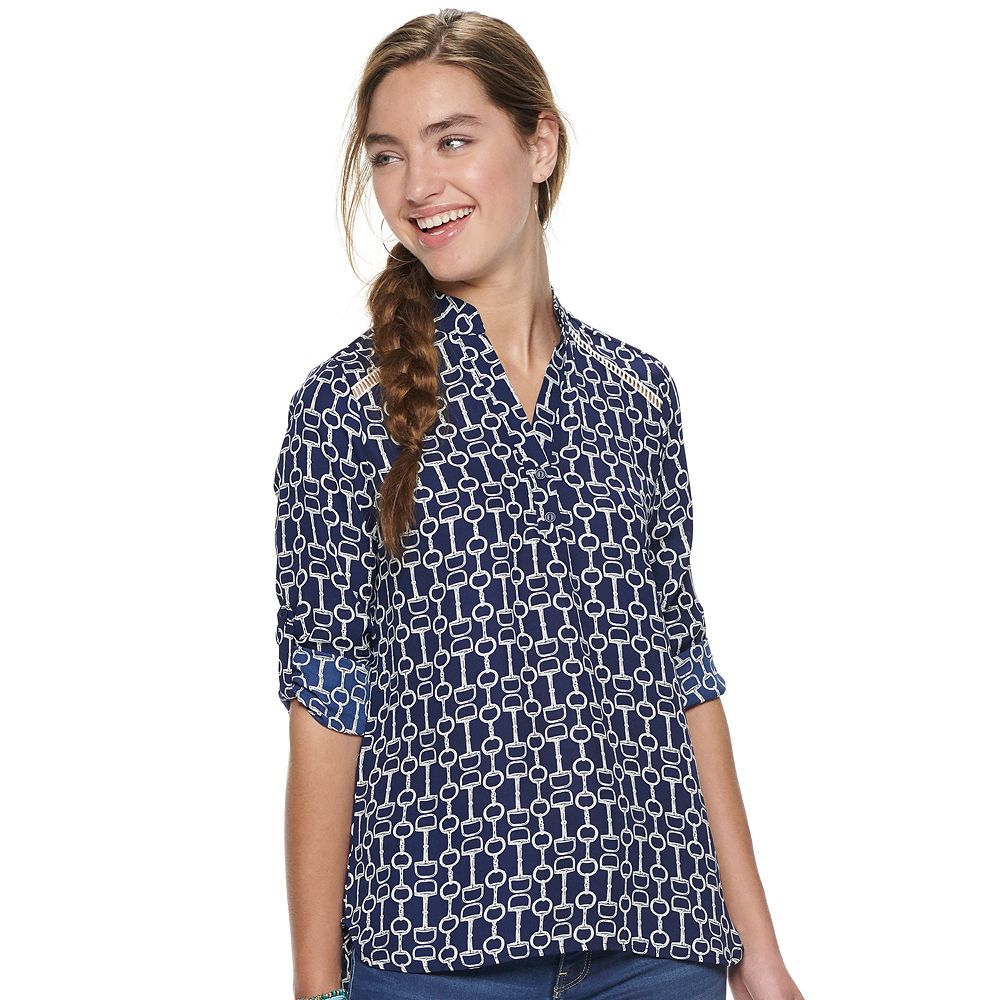Juniors' Liberty Love Ladder Shoulder Trim Henley Top