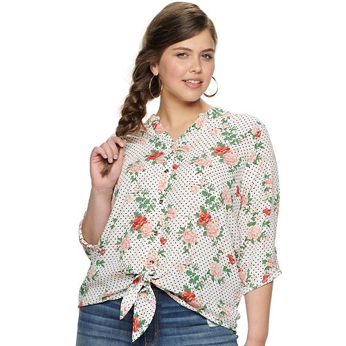 Juniors' Liberty Love Tie Front Button Front Top