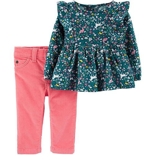 Baby Girl Carter's Floral Horse Top & Corduroy Pant Set