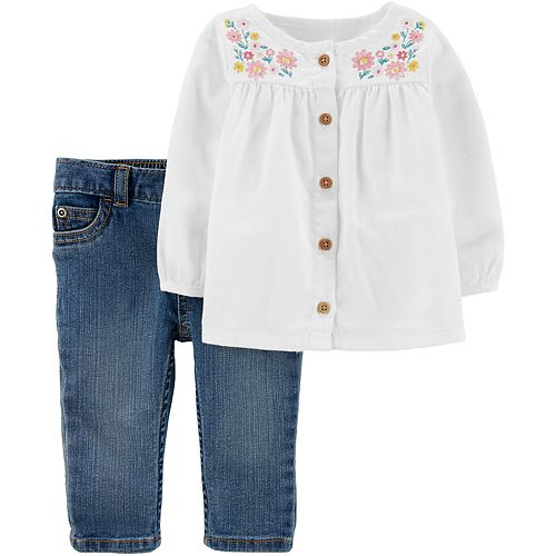 Baby Girl Carter's Embroidered Peasant Top & Denim Pant Set