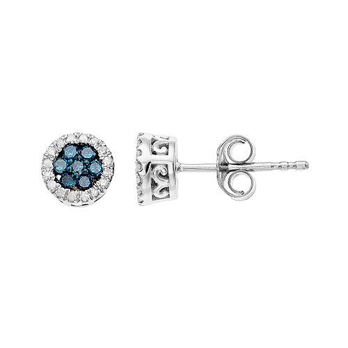 Sterling Silver 1/4 Carat T.W. Colored Diamond Cluster Earrings
