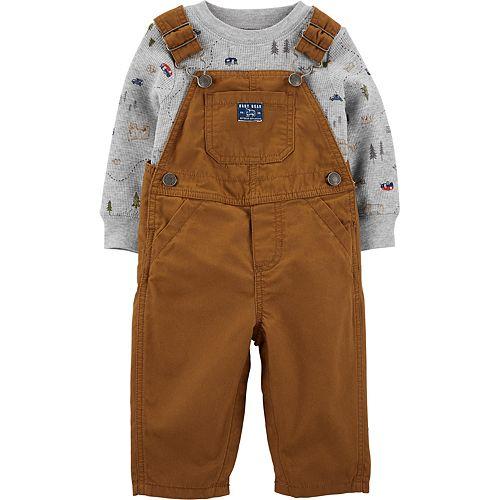 Baby Boy Carter's 2-Piece Camping Tee & Khaki Overalls Set