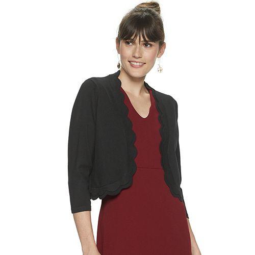 Women's Nina Leonard Scallop Trim Knit Bolero