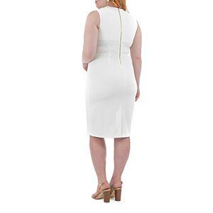 Women's Nina Leonard U-Neck Midi Sheath Dress