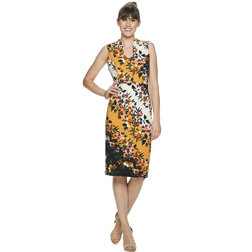 Women's Nina Leonard U-Neck Midi Sheath Dress